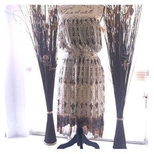 Lavender Brown Strapless High-Low Dress